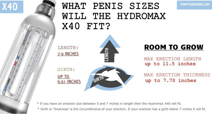 hydromax x40 size
